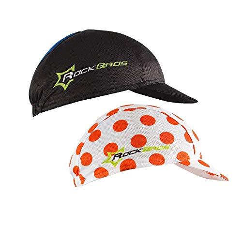 Hysenm Fahrradkappe Helmeinsatz Champion Cap Tour De France Polyester atmungsaktiv schweißabsorbierend, Herren, 2 Pack - Black&Red Dot