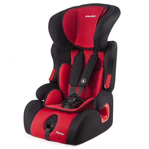 BABYLON silla coche Planet asiento de coche grupo 1/2/3,bebe coche para Niños 9-36 kg (1 a 12 años). silla coche bebe fabricada en Europa ECE R44 /0 Negro/Rojo