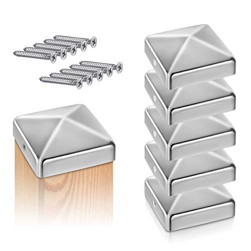 TOOLCORE® Pfostenkappen Edelstahl 7x7cm | 5 Stück | Pfostenabdeckung inkl. Edelstahl Schrauben | Rostfrei Zaunkappen Paket