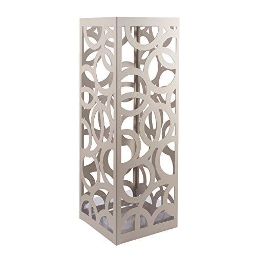Baroni Home Portaombrelli Design Moderno Porta Ombrelli in Metallo con Intaglio Cerchio Grigio Tortora con Gancino e Vaschetta Scolapioggia Rimovibile 18X18X55 cm