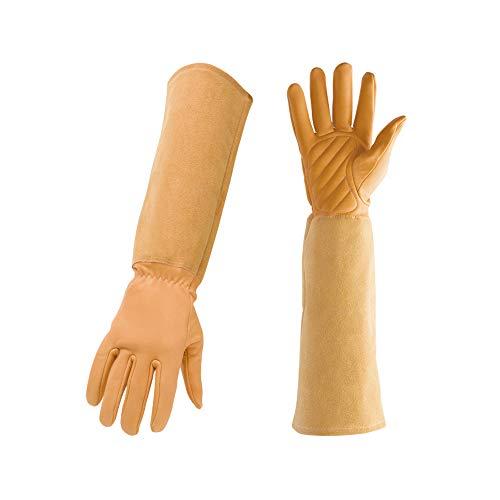 Braune Ziegenleder-Handschuhe, stichfeste Gartenhandschuhe, bestes Geschenk für Gärtner und Bauern