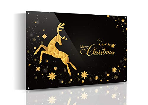SKYPOP DESIGNS Christmas Wall Decor - Metal Merry Christmas Sign Wall Art, Rustic Christmas Signs for Home Decorations & Farmhouse - Metal Frame in Black & Gold for Indoor & Outdoor 8x12 Inch