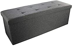 FIRE SAFETY, STRONG & STABLE: Made of Linenette and High Density Foam which conform to the UK Furniture & Furnishings (Fire Safety) Regulations - BS5852, 9mm Thick MDF construction with a divider makes the ottoman strong . EXTRA STORAGE SPACE - Extra...