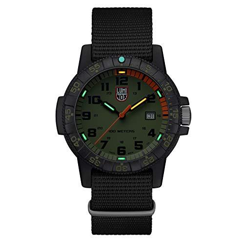 Luminox Mens Wrist Watch Leatherback Sea Turtle Giant 44 mm Black Green Display (XS.0337): 100 M Waterproof + Super Luminova + Carbonox Case