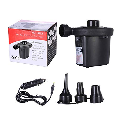 Voghtic Electric Air Pump, Rechargeable electric camping air pump Camping Electric Pumps with 3 Nozzles, for Inflatable Sofa, Air Raft Mattress, Swimming Ring,Car Use