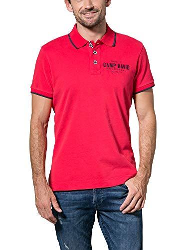Camp David Herren Poloshirt aus Jersey mit kleinem Artwork, Royal Red, M