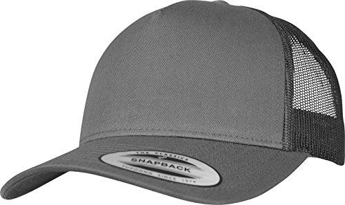 FLEXFIT Trucker Cap, Cappello con Visiera Piatta, Cappellino da Baseball con 5 pannelli, Cappello da baseball Regolabile con Chiusura in Plastica, Unisex, Colore Charcoal, Taglia unica