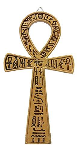 Ebros Wanddekoration Ansata, ägyptisch, Goldener Ankh, 18,3 cm lang, New Age Mystik mit ägyptischen Hieroglyphen, Symbol für Lebensgesundheit, Stabilität und Balance