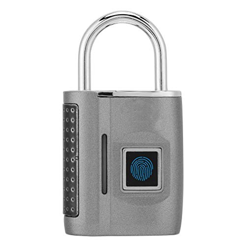 Demeras Combination Padlocks Smart Fingerprint No Password Unlock Padlock Customs Lock for Suitcase Luggage Backpack(GREY)