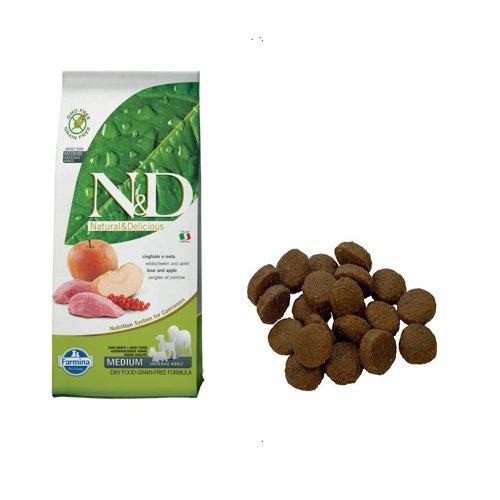 Hundefutter Trockenfutter N&D Wildschwein & Apfel, Getreidefrei - Natural & Delicious Farmina (12 Kg.)