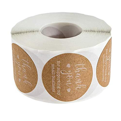 harayaa 500 Gracias Craft Packaging Sellos DIY Kraft Seal Etiqueta Adhesiva Etiqueta de Papel