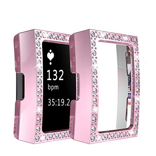 Yu Store Schutzhülle für Fitbit Charge 2, mit Strasssteinen, stoßfest, für Damen und Mädchen, Charge 2, Rose pink