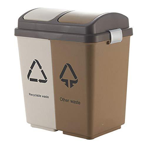 ZYZZ 20L Cubo para Reciclaje de El Plastico 2 Organizador de Basura de 10L Cubo Reciclaje Basura Tapa con Bisagras