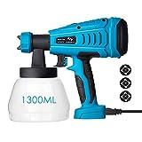 Tilswall Pistola de Pintura 550W de Flujo 1200 ml/min, Viscosidad Máxima 120 Din/s, con Envase de 1300ml y 3 Boquillas para Pintura y Decoración