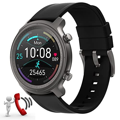 Fitonme Smartwatch Hombres Relojes Inteligentes Bluetooth recibe Llamadas,Fitness Smartwatch 1.28'' de Reloj Deportivo con Podómetro para Samsung Huawei Android iOS Ronda(Negro)