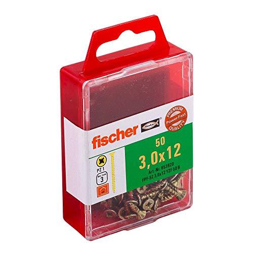 fischer Power-Fast FPF-SZ 3,0 x 12 YZF 50 B - Spanplattenschrauben mit Senkkopf und Vollgewinde zur Befestigung von dünnen Bauteilen in Holzwerkstoffen - 50 Stück - Art.-Nr. 653920