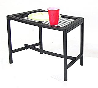 Sunnydaze Black Metal Mesh Patio Side Table - Lightweight and Portable Outdoor Furniture - Heavy Duty Modern Camp Fire or Fire Pit End Table - 23-Inch