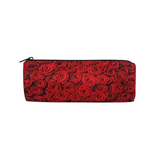 BOLOLI Estuche para lápices con diseño floral de rosas rojas, soporte de papelería con cremallera, bolsa cosmética para escuela, oficina, niños, estudiantes, adolescentes