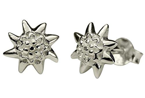 SILBERMOOS Damen Ohrstecker Edelweiss Edelweiß Blume matt Sterling Silber 925 Trachtenschmuck Oktoberfest Ohrringe