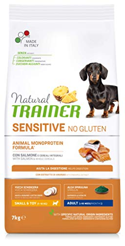 Natural Trainer Sensitive No Gluten - Cibo per Cani Small&Toy Adult con Salmone e Cereali Integrali 7kg