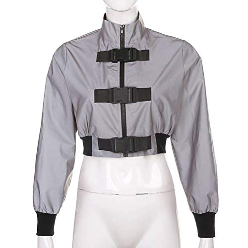 JUSTTIME Trendy Street Style Schooltassen gesp reflecterende jas mantel bovenkant vrouwen winter Medium grijs