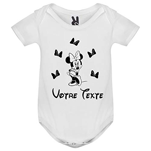 Bodies - Body - Manche Courte - Vêtement Naissance - Bébé Fille & Garçon - Avec Votre Texte Personnalisé - Idée Cadeau Originale - 0/6 Mois - Blanc (JozigoLayette4)