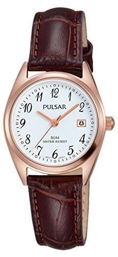 Pulsar Damen Analog Quarz Uhr mit Leder Armband PH7448X1