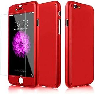 حافظة 360 درجة صلبة رفيعة وخفيفة الوزن مع واقي شاشة - ايفون 7 احمر