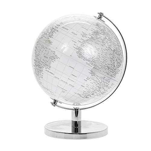 Lesser & Pavey Vintage Rotating Silver & White World Globe with Metal Stand for Your Desk/Office, Silver, 27cm