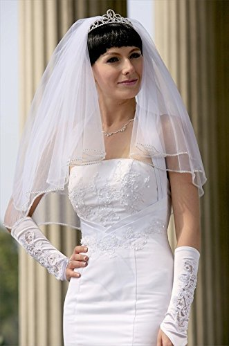 Bridal Wedding Veil Diamond (Off) White 2 Tiers Elbow Length Rhinestone Edge by Velvet Bridal