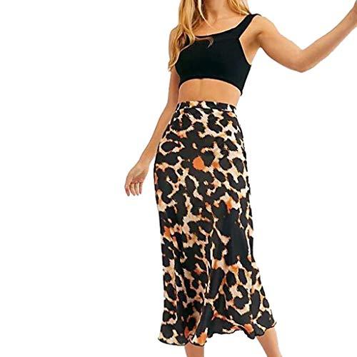 Brizz Basic Rock A-lijnen, hoge taille, luipaardprint, elastische swing rok, taille-rok