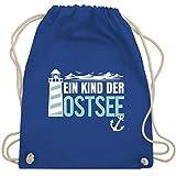 Shirtracer Sprüche Statement mit Spruch - Ein Kind der Ostsee blau/weiß - Unisize - Royalblau - Geschenk - WM110 - Turnbeutel und Stoffbeutel aus Baumwolle