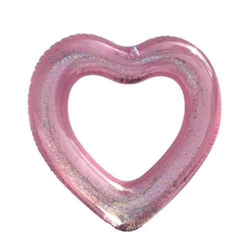 WuLi77 Flotadores de piscina con forma de corazón con purpurina, herramienta de natación inflable
