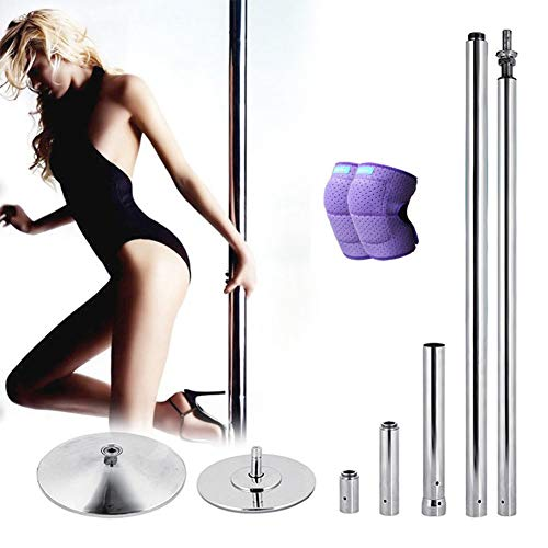 Dancing Pole Kit Tragbarer Stripper Spinning Dance Pole 45mm für Bewegung, Club, Party, Pub und Fitness mit Knieschützern,S
