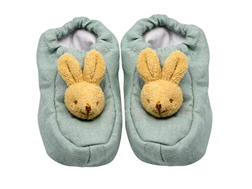 Trousselier - Slippers with Bunny Head - 0 to 2 Years Old - Linen Fabrics - Ideal Birth Gift - Machine Washable - Celadon Green Color - 2 Count