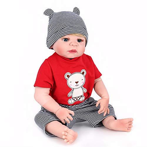 WANGXN 22 Zoll 55 cm Volle Silikon Körper wasserdichte Reborn Baby Puppe Lebensechte Neugeborene Realistische Baby Puppe