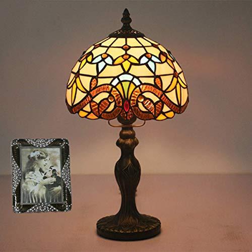 Lámpara de mesa barroca estilo Tiffany, lámpara de mesa barroca de estilo Tiffany, lámpara de escritorio vintage de 7.8 pulgadas, lámpara de noche de mesita de noche con vitrales hechos a mano para d