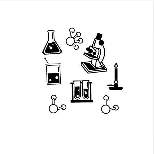 56x60 cm Ciencia Bundle Pegatinas de Pared de Vinilo Aula de Química A Prueba de agua Microscopio Arte de La Pared Tatuajes de Arte DIY Etiqueta Maestro
