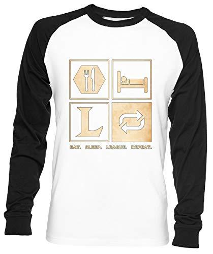 Eat Sleep League Repeat Unisex Hombre Mujer Béisbol Camiseta Blanco Unisex Baseball T-Shirt