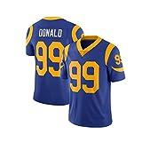 Maillot de Rugby Los Angeles Rams # 99 Aaron Donald Rugby Fan T-Shirts imprimé Haut à Manches Courtes en Maille Jersey Respirant M Bleu