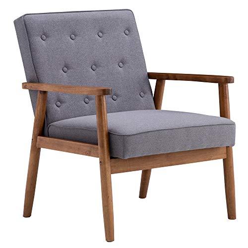 AHZZY Sillón de madera de mediados de siglo, sillón de madera tapizado retro, sillón de madera para salón, balcón, oficina, color gris