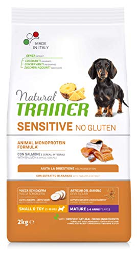 Natural Trainer Sensitive No Gluten - Pienso para Perros Mini-Toy Senior con Salmón y Cereales Integrales - 2kg 🔥