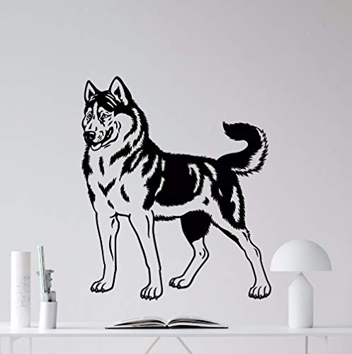 Tianpengyuanshuai Husky Hund Wandtattoo Vinyl Kinderzimmer Haustier Vinyl Wandaufkleber Kunst Hund Tier Wand 42X50cm