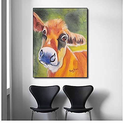 Canvas print,Schilderij op canvas Een mooie langoor ezel schilderij Muurafbeeldingen op poster en print voor woonkamer muur - 40x50cm