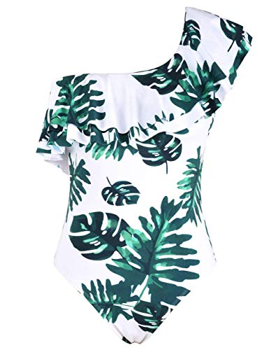 Hilor Women's One Piece Swimwear One Shoulder Swimsuits Double Ruffled Bathing Suits Monokinis White&Green Leaves 8