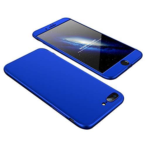 Eazyhurry Schutzhülle für iPhone 8 Plus, 3-in-1, Kratzfest, Polycarbonat, ultradünn, stoßfest, inkl. Bildschirmschutzfolie, Polycarbonat, blau, iPhone 8 Plus