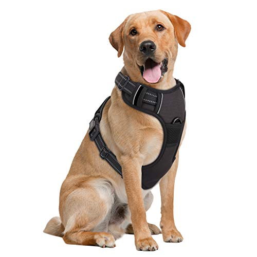 Pawaboo Dog Harness, No Pull Pet Vest Harness Adjustable Reflective Oxford Soft Padded Easy Control Handle for Outdoor Walking, Suitable for Small, Medium, Large Dogs, Black
