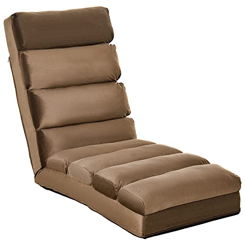 HOMCOM Lounge Sofa Bed Folding Adjustable Floor Lounger Sleeper Futon Soft Mattress Seat Chair w/Pillow Living Room Bed Room Furniture (Brown)