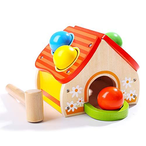 TOP BRIGHT Holz Klopfspiel für Kinder ab 1 Jahr, Klopfbank Hammerspiel mit Kugeln, Hammerspielzeug Geschenke Jungen Mädchen