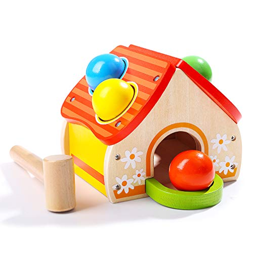 TOP BRIGHT Wooden Hammer Ball Toy for 1 Year Old Boy Girl Present, Wooden Pounding Bench Toy for Baby One Year Old Gift